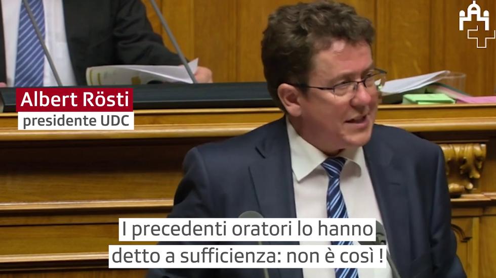 """Iniziativa """"Per l'autodeterminazione"""": l'intervento in Consiglio nazionale di Albert Rösti, presidente dell'UDC svizzera"""