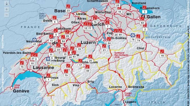 Avvisi di problemi disseminati in tutto il nord delle Alpi