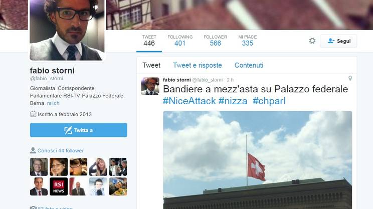 Bandiere a mezz'asta su Palazzo federale