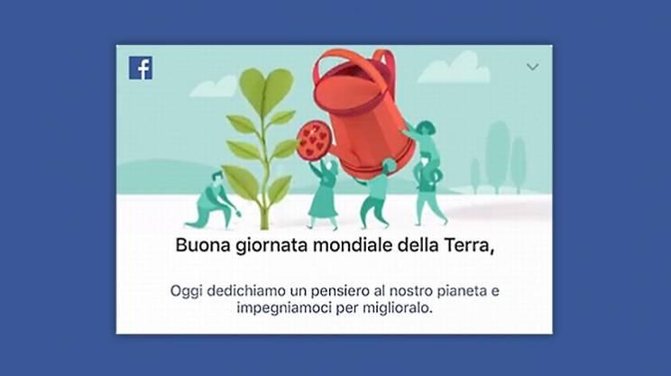 Buona giornata della Terra da Facebook. Per la prima volta il bigliettino è animato