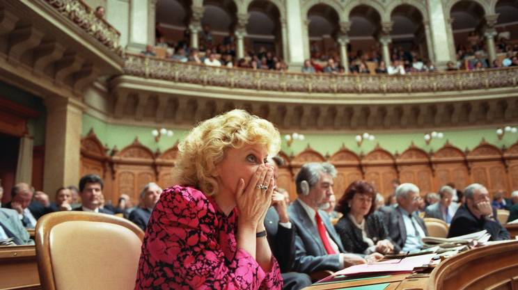 Christiane Brunner, sconfitta nella corsa al Consiglio federale nel 1993