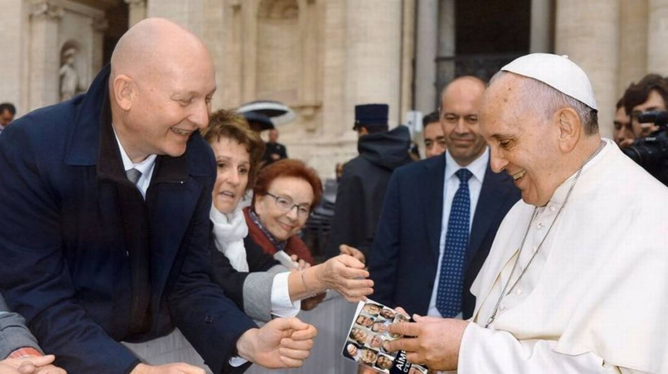 Daniel Pittet con Papa Francesco a Roma nel 2015