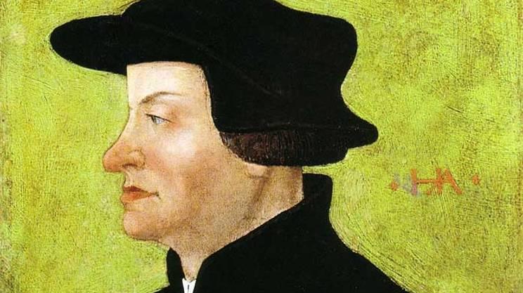 Huldrych Zwingli (1484 - 1531), qui raffigurato nel ritratto di Hans Asper