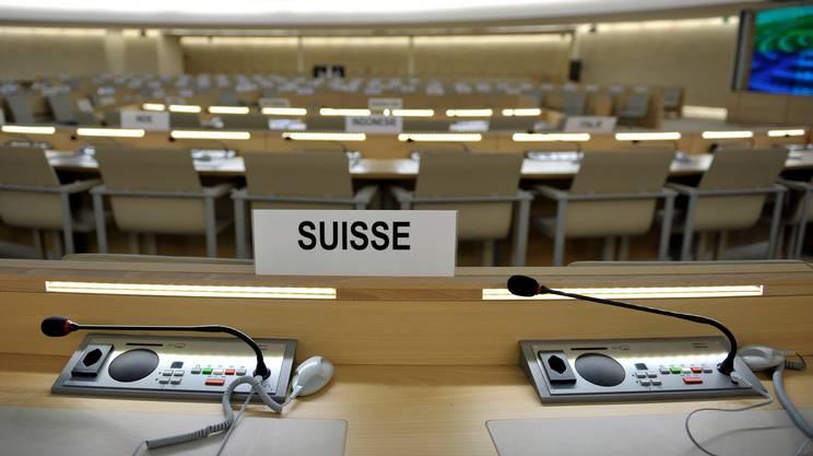 I seggi della Svizzera nella sala del Consiglio dei diritti umani dell'ONU