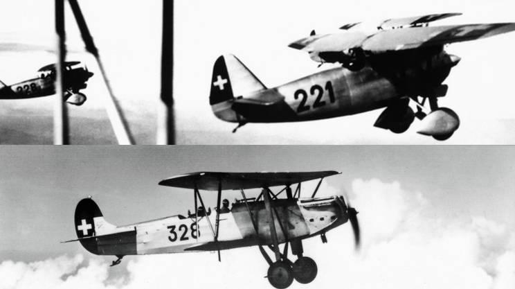 Il Consiglio federale vuole 105 aerei da combattimento moderni; tra questi, 65 Dewoitine D-27 di produzione francese (in alto) e 40 Fokker CV-E (ex tedeschi, divenuti olandesi)