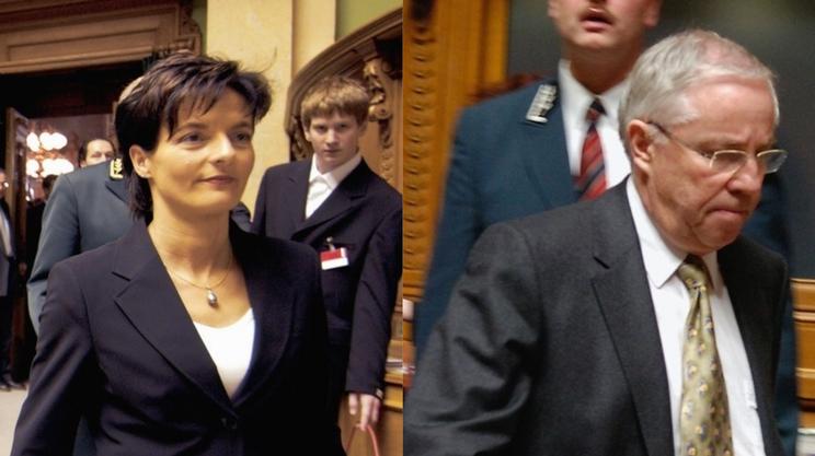 Il gioco delle parti: Ruth Metzler nel 2003 e Christoph Blocher nel 2007. Le due vittime eccellenti di mancate rielezioni in Consiglio federale
