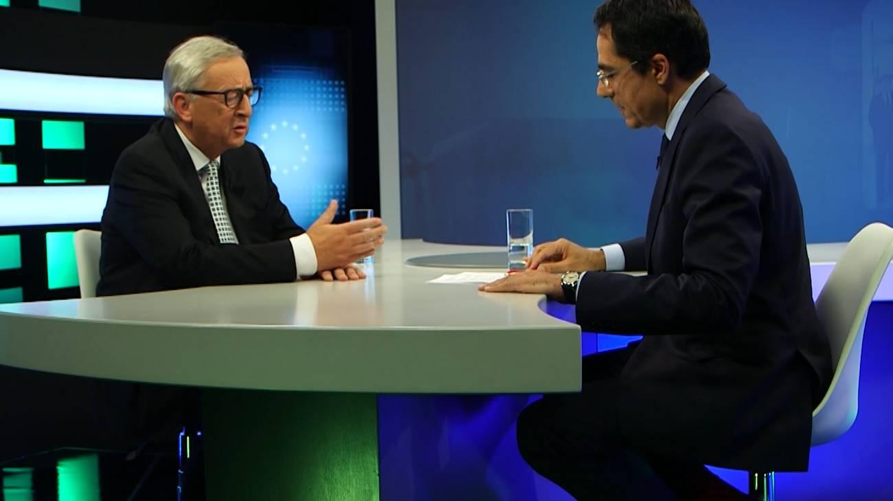 Juncker intervistato dal giornalista della RTS Darius Rochebin