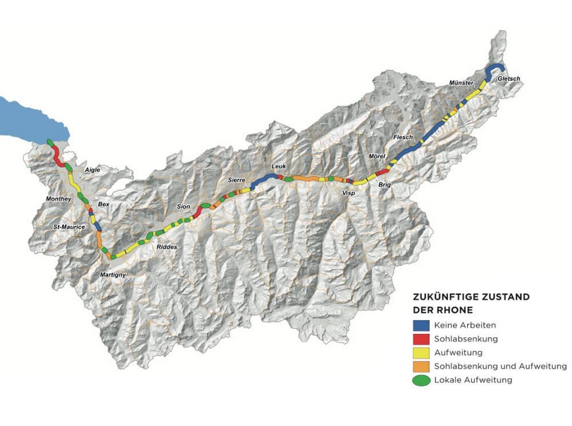 Il progetto tocca tutto il corso del Rodano: da Gletsch al Lemano