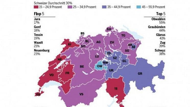 La cartina che mette in mostra le differenze tra i vari cantoni