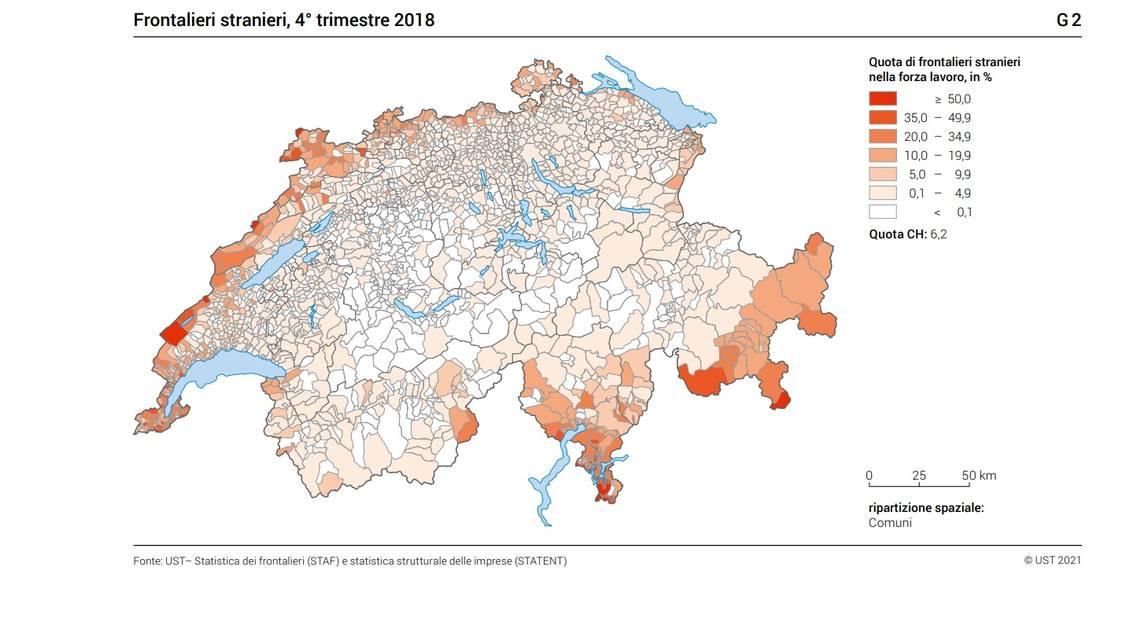 La distribuzione della forza lavoro frontaliera
