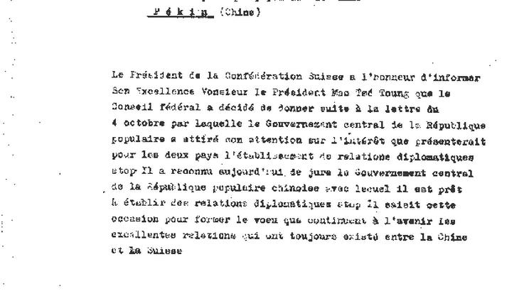 La lettera ufficiale, datata 17 gennaio del 1950, con cui l'allora presidente della Confederazione Max Petitpierre comunicò a Mao Tse-Tung il riconoscimento da parte di Berna della Repubblica popolare cinese