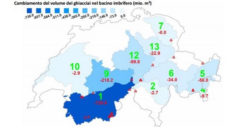 La perdita di volume dei ghiacciai svizzeri, in milioni di metri cubi, fra il 2014 e il 2015