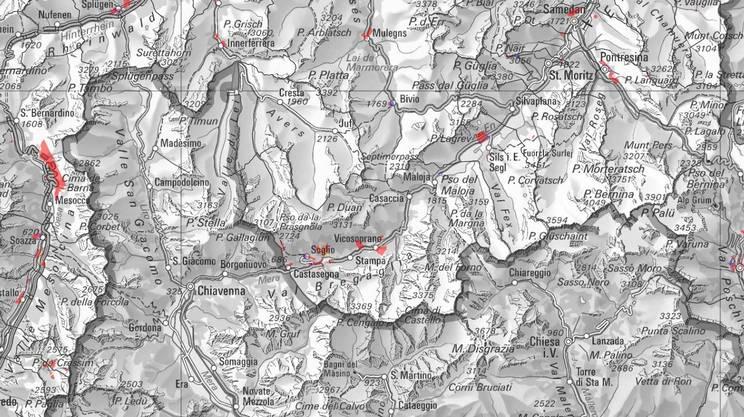 Le zone a rischio frana nel Grigioni italiano