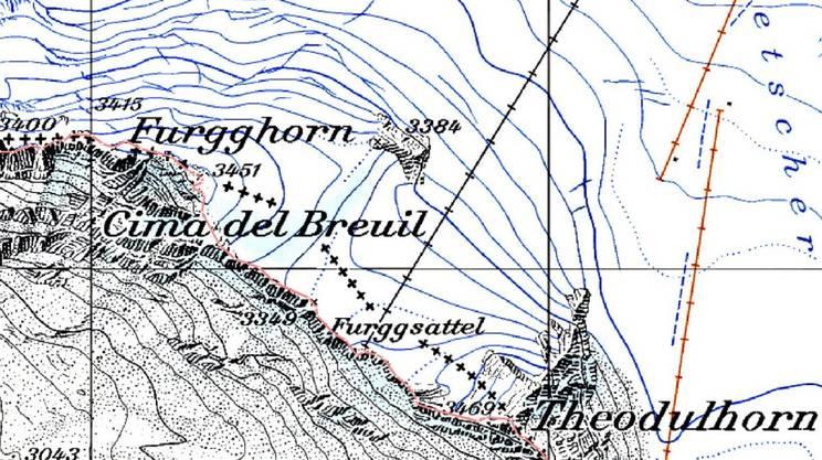 Lo scioglimento dei ghiacciai ha effetti anche sui confini nazionali. La linea di displuvio - che sui ghiacciai a quote molto elevate segna la frontiera - ha subito infatti spostamenti negli ultimi decenni. Qui il tratto di confine fra Svizzera e Italia sul Furggsattel, in Vallese. Le crocette indicano la frontiera nel 1940. In rosso, quella attuale.