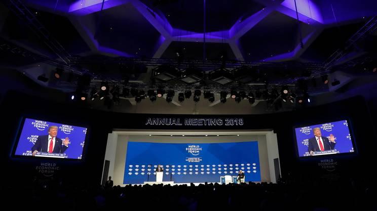 Una panoramica della sala in cui Trump ha pronunciato il suo discorso