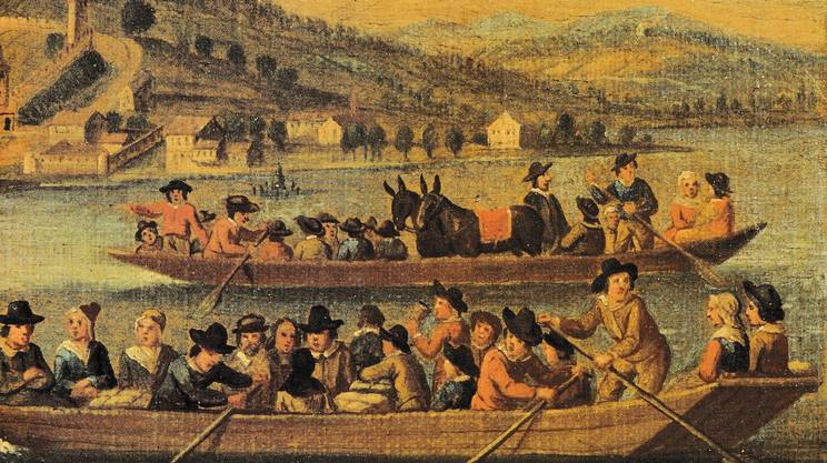 Una raffigurazione dell'arrivo a Zurigo, nel 1555, dei protestanti locarnesi