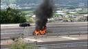 Auto in fiamme sull'A2, un morto