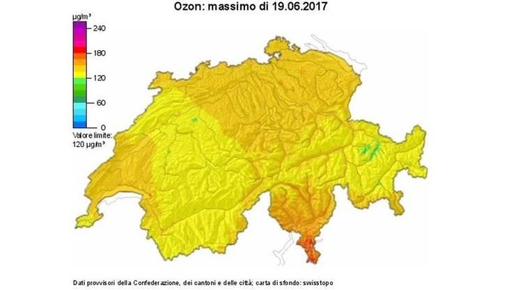 A sud delle Alpi le immissioni sono generalmente più elevate rispetto al resto della Svizzera
