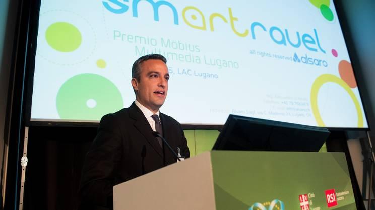Alessandro D'Amato, già vincitore nel 2015 del premio Moebius Multimedia Lugano, qui durante la cerimonia dello scorso anno