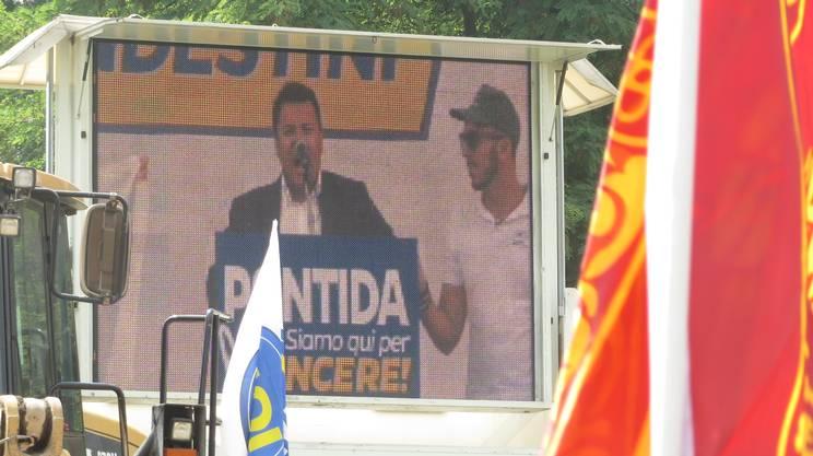 Boris Bignasca sul grande schermo al raduno di Pontida del 2015