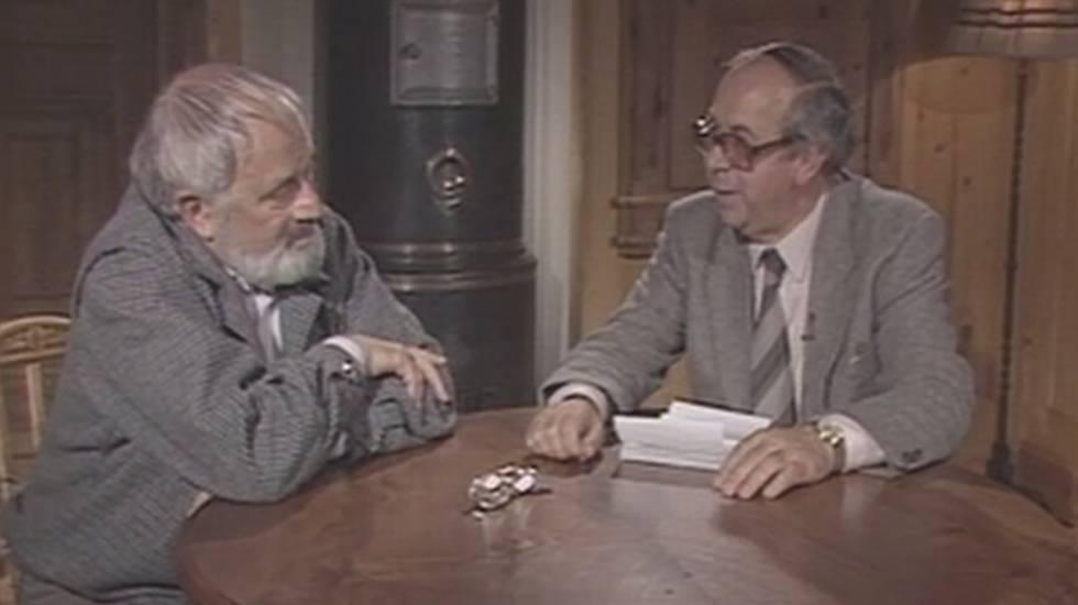 Franco Pool (destra) durante un'intervista a Wolfgang Hildesheimer