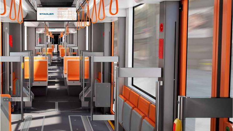 Gli interni delle nuove carrozze delle FLP, che saranno più capienti delle attuali