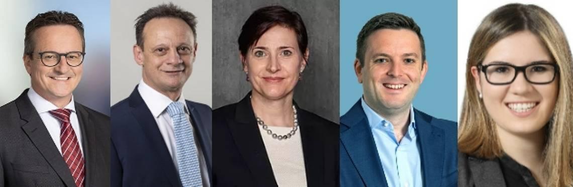 I candidati grigionesi agli Stati: Schmid, Engler, Favre Accola, Pult e Danuser