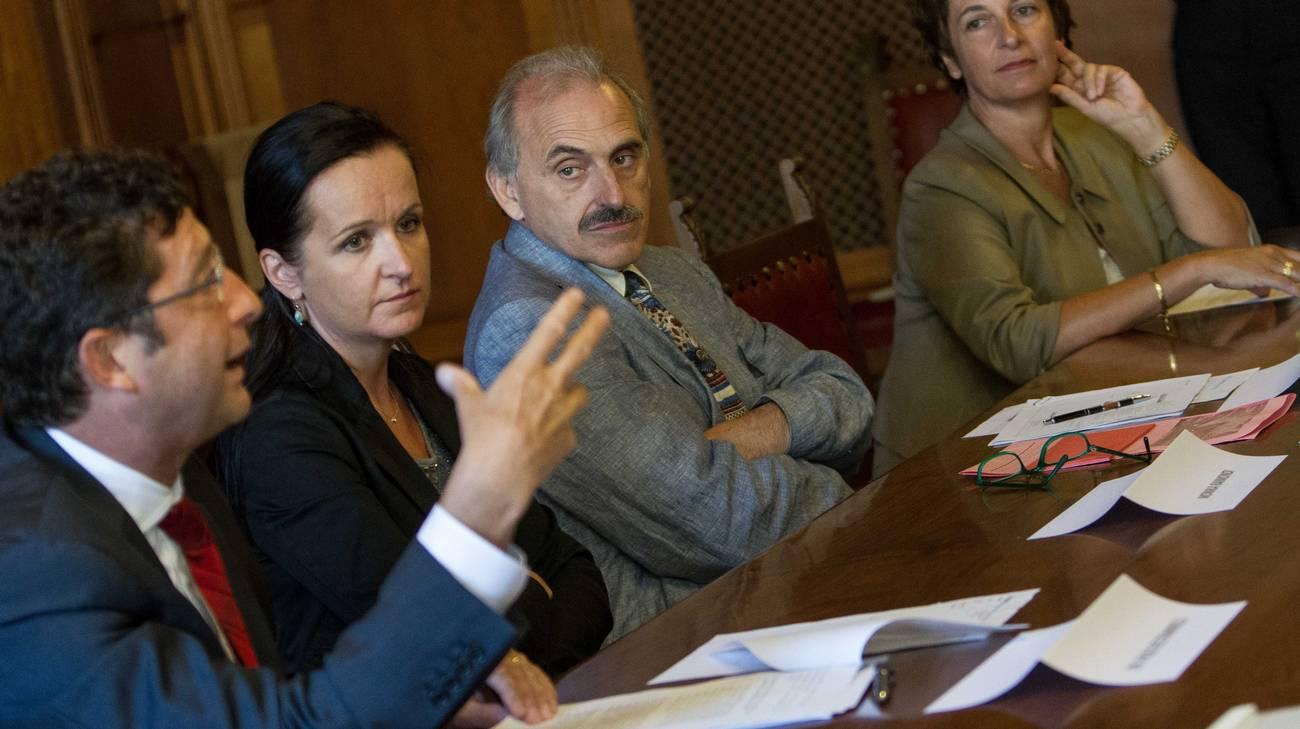 I promotori dell'iniziativa durante la conferenza stampa