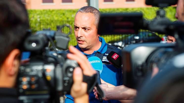 Il comandante della polizia cantonale ticinese, Matteo Cocchi, alla conferenza di sabato a Noranco