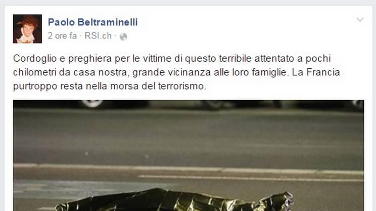 Il cordoglio del presidente del Governo ticinese Paolo Beltraminelli