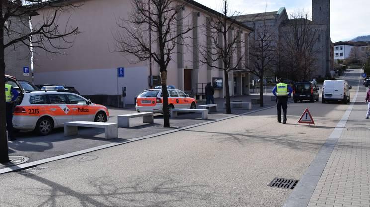 Il furgone coinvolto nell'incidente fermo in Via Motta a Massagno martedì