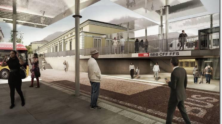 Il moderno ingresso della stazione FFS della Turrita