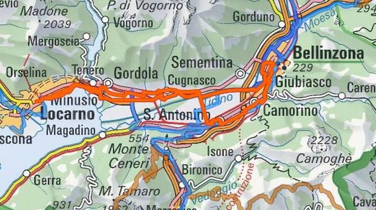 Il percorso della settima edizione di slowUp Ticino