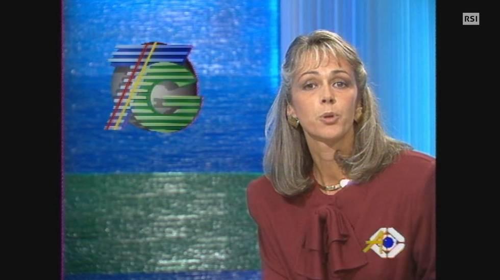 3 ottobre 1988: Giulia Fretta presenta la prima puntata di Telegiornale Sera dai nuovi studi TSI di comano