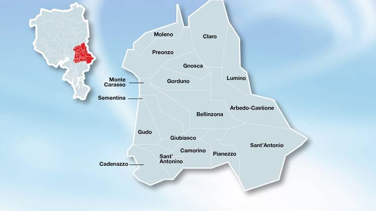 Le aggregazioni dei comuni attorno a Bellinzona