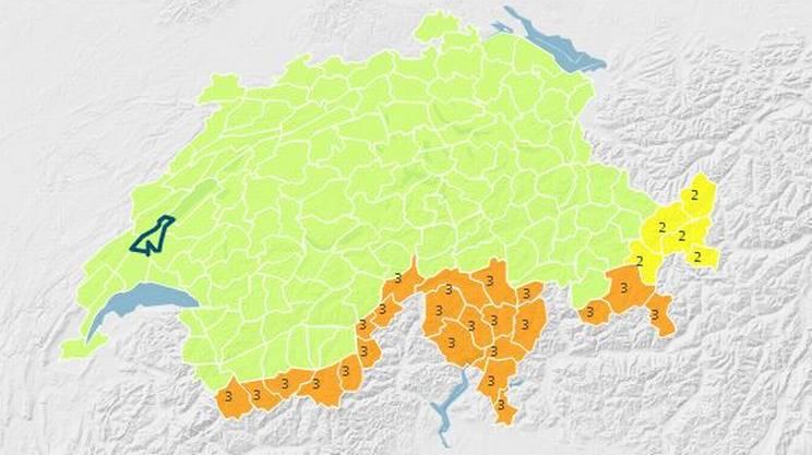 Le regioni interessate dal pericolo di grado 3