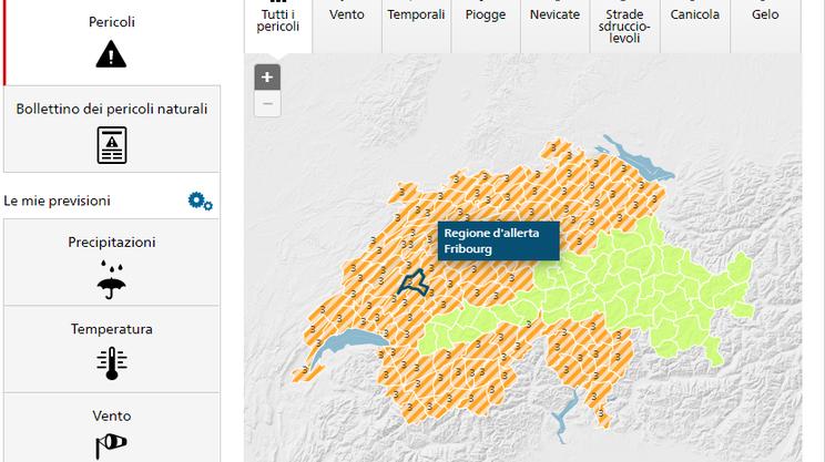 Le zone dove sono previsti temporali, in arancione