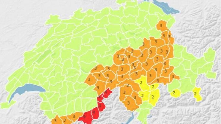 Le zone interessate dall'allerta neve