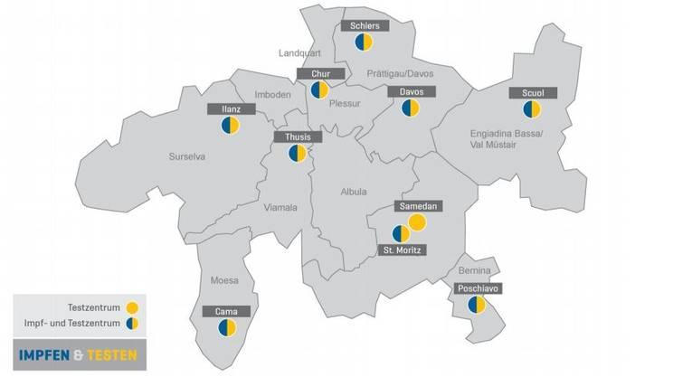 L'ubicazione dei centri regionali per la vaccinazione e i test