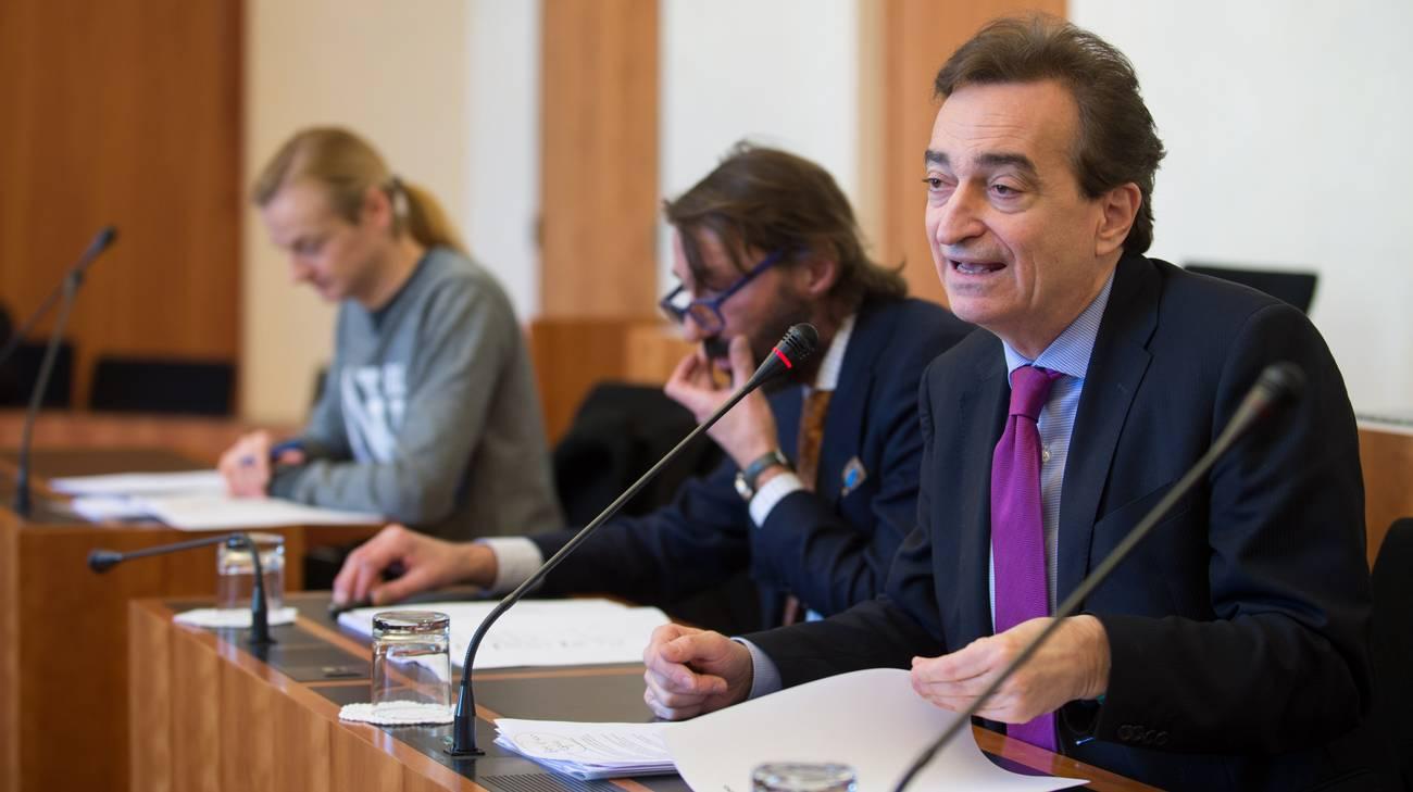 Marco Borradori, Michele Foletti e Lorenzo Quadri in conferenza stampa