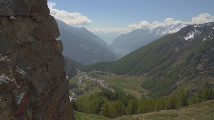 Partenza all'Alp Grüm, arrivo laggiù, a Cavaglia dove si trova il Giardino dei Ghiacciai