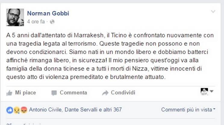 Strage di Nizza, il pensiero del consigliere di Stato ticinese Norman Gobbi