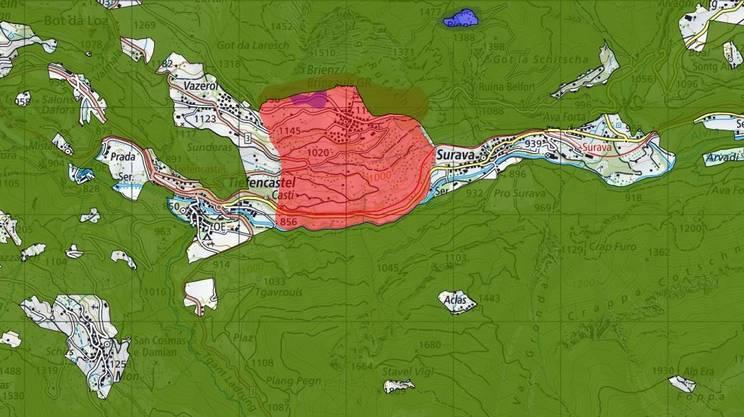 Tutta l'area è in zona di pericolo di scivolamento rossa