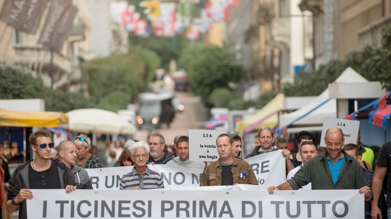 Una manifestazione a Bellinzona contro la LIA