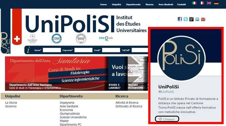 Unipolisi su Twitter si presenta quale istituto ticinese