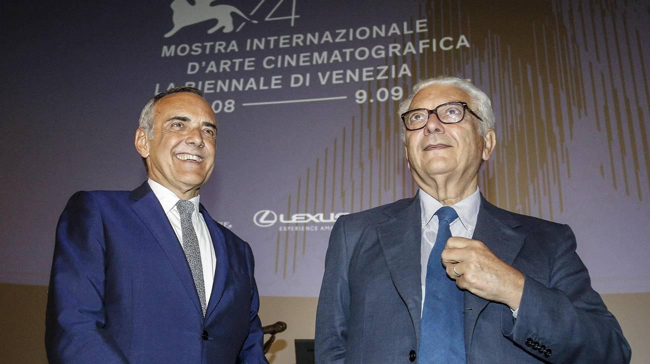 Il direttore della Mostra Alberto Barbera con il presidente della Biennale Paolo Baratta