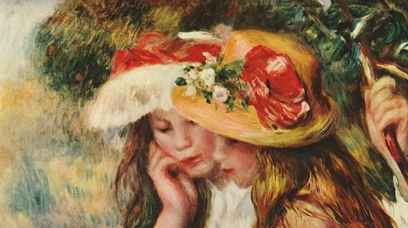 Renoir, Due ragazze che leggono in un giardino, olio su tela, 1890 circa
