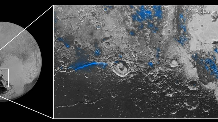 Il blu dei ghiacci del pianeta nano