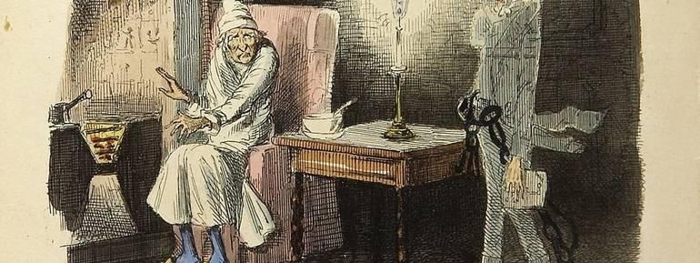 Ebenezer Scrooge parla al fantasma di Marley - Illustrazione di John Leech dal libro