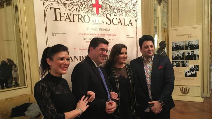 I protagonisti di Andrea Chénier. Da sinistra: Annalisa Stroppa, Luca Salsi, Anna Netrebko e Yusif Eyvazov
